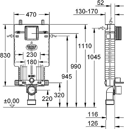 38643001 6-9 l Ref Grohe Uniset Cisterna empotrada para WC