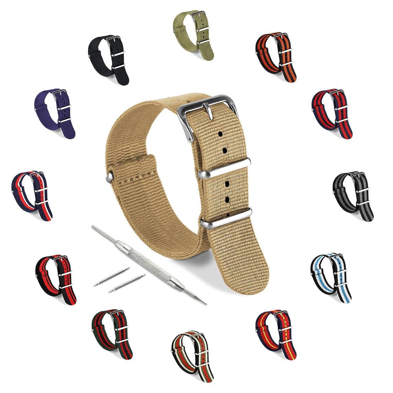 United Watchbands 腕時計バンド ナイロンNATOベルトあらゆる腕時計のフェイス フィットネス機器 ベゼル(18mm 20mm 22mm 24mm)にフィット 20mm タン  タン 20mm B01COB8SLK