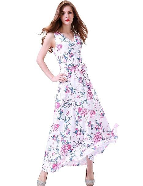 905d81a7735 Melynnco Women s Floral Sleeveless Faux Wrap V Neck Long Summer Maxi Dress  Small White