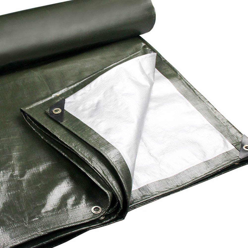 JU FU Tela impermeabilizzante in polietilene Resistente all'Acqua Resistente al Sole perché Tenda da Campeggio all'aperto 180 g m², 22 Taglie, Esercito verde @ (Dimensioni   3X4m)