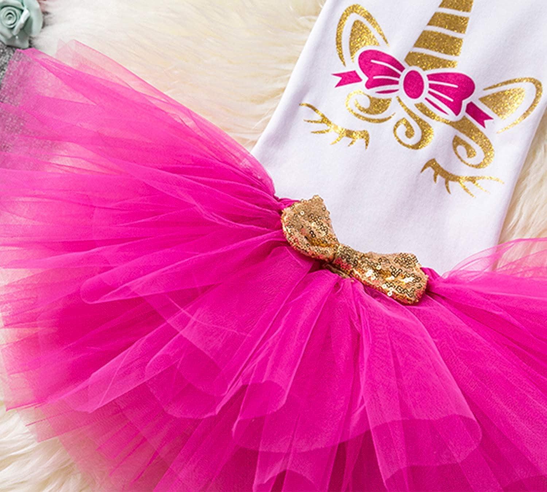 4-24 Meses TTYAOVO Bebita 1er Cumplea/ños Princesa Tutu Falda Ropa Conjunto de 3 Piezas Trajes Mameluco Falda Diadema Leggings