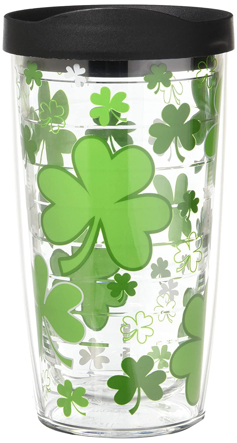 Tervis 1089508 Shamrocks Tumbler with Wrap and Black Lid 2 Pack 16oz Clear