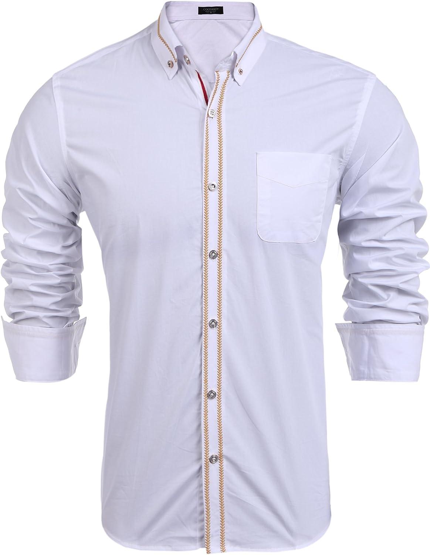 Coofandy - Camisa Formal - Manga Larga - para Hombre Negro L: Amazon.es: Ropa y accesorios