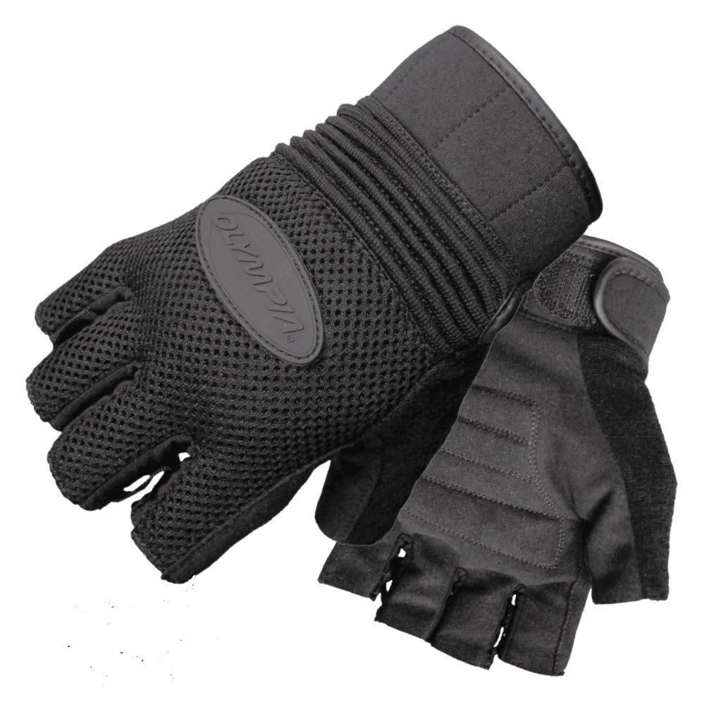 Black, Medium Olympia Sports Mens Air Force Fingerless Gel Gloves 75714