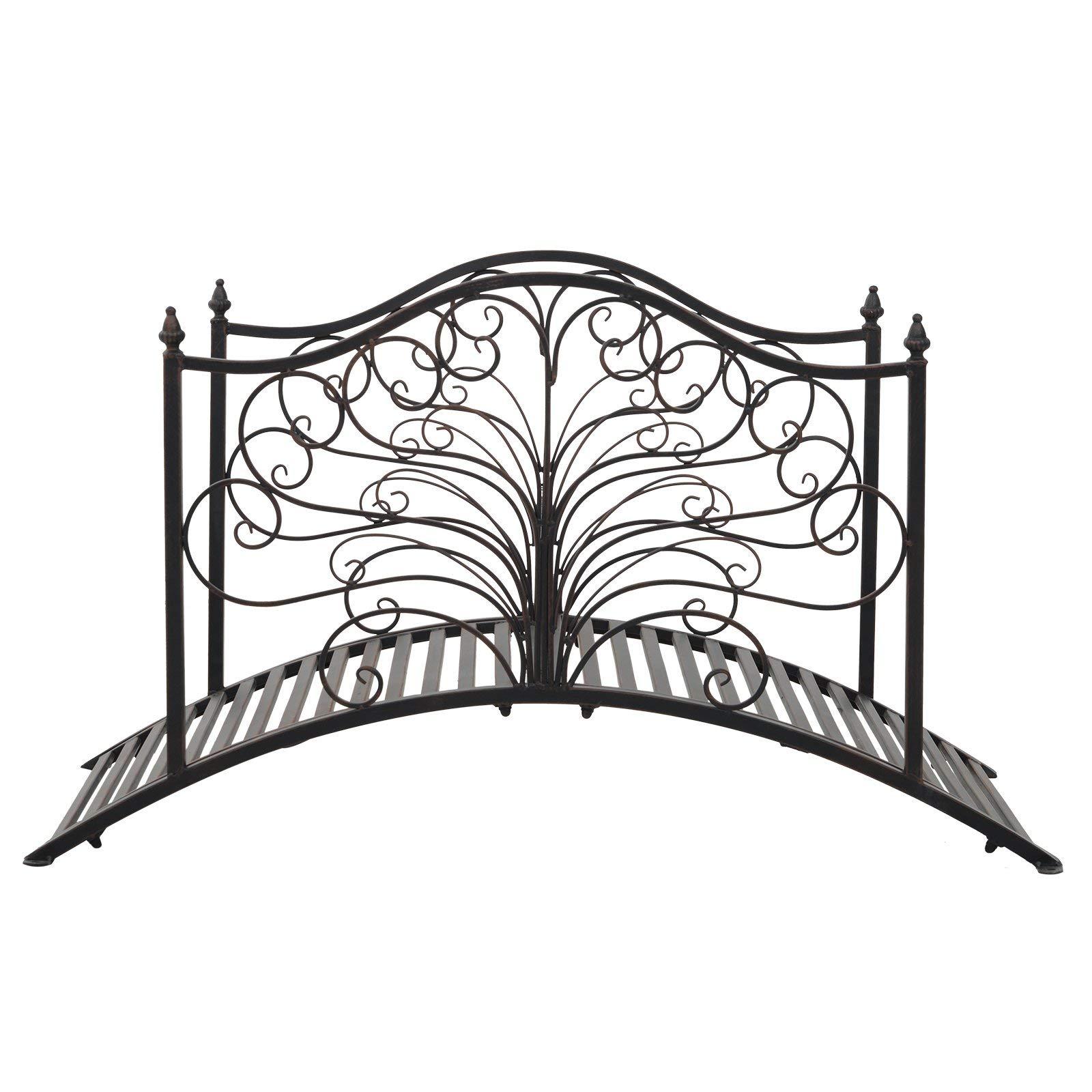 Festnight Outdoor Metal Garden Bridge Patio Backyard Decorative Bridge Black Bronze, 4' by Festnight (Image #8)