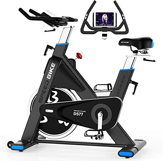 pooboo Exercise Bike Belt Driven Indoor Cycling Bike Commercial Standard Stationary Bike with 44lbs Flywheel for Professional Cardio Workout