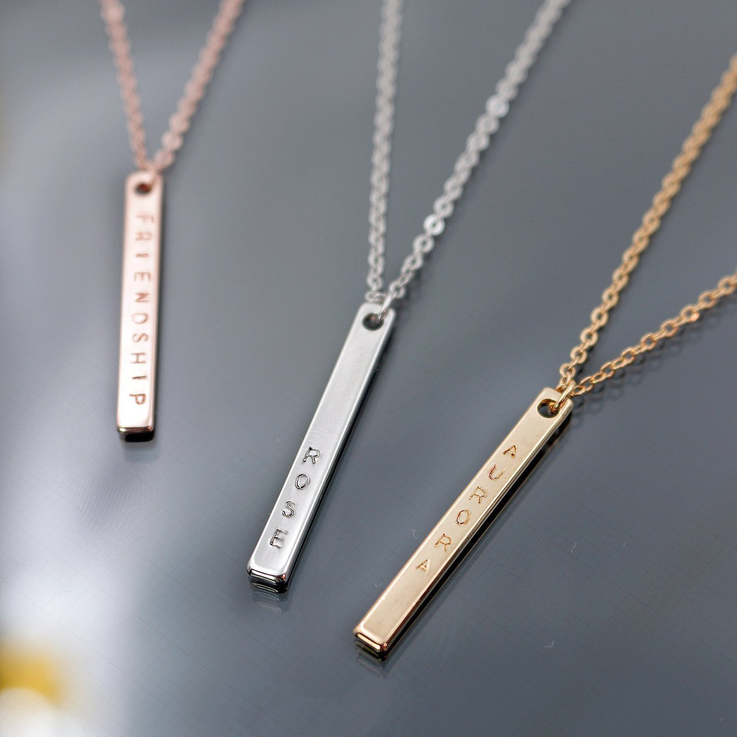 hand roman engraved name bar necklace product sterling pendant initials custom gold over in rose numerals coordinates silver personalized