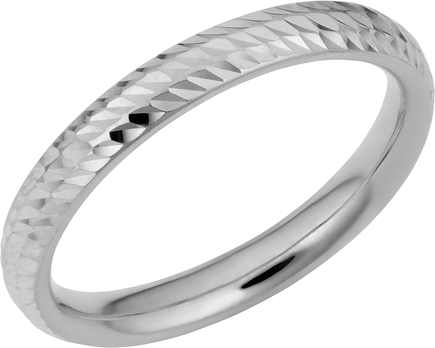 Security Jewelers 14k White Gold 2mm Half Round Light Band 14kt White Gold Ring Size 10