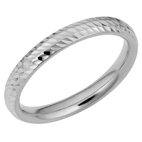 Amazon.com: 14 K oro blanco Diamante Boda Banda Anillo (3 mm ...