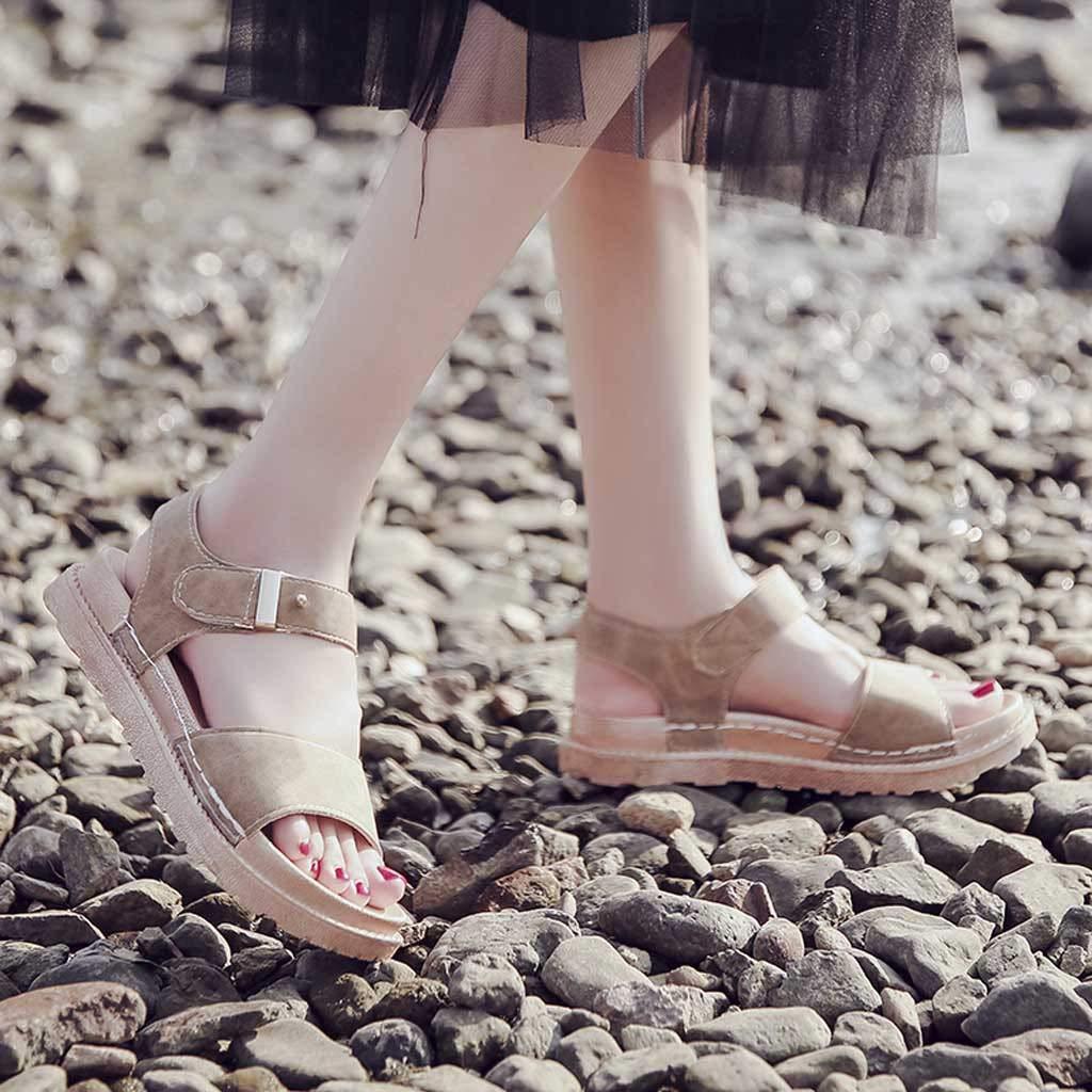 Oasisocean Platforms Sandals for Women Casual Platform Sandals Espadrille Wedge Buckle Strap Open Toe Sandals