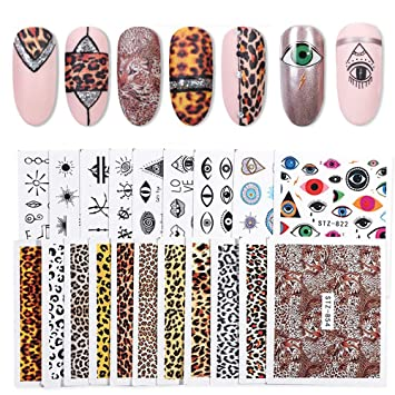 19 Sheets Nail Stickers Nail Art Water Decals, 8-Design Eye Nail Stickers  &11 Styles Leopard Print Decals