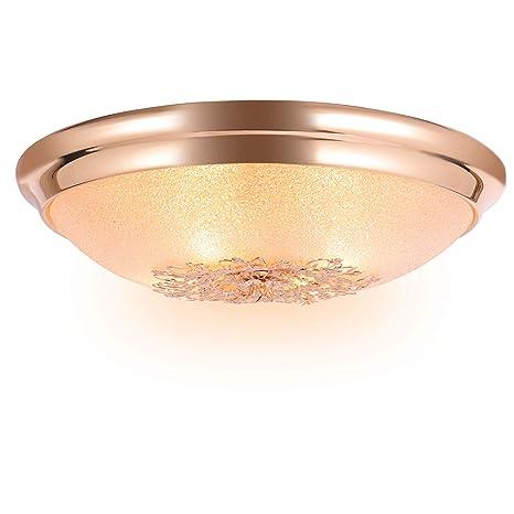 SPARKSOR φ46x13cm Lámpara de techo retro, 4 luces, color rosa dorado con montaje empotrado, lámpara de techo con pantalla de vidrio, 4 * bombillas E14 ...