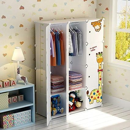 KOUSI Kids Dresser Kids Closet Portable Closet Wardrobe Children Bedroom  Armoire Clothes Storage Cube Organizer, White with Cute Animal Door, Safety  & ...