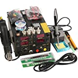 Saike 909D+ Rework Soldering Station + Hot Air Gun + DC Power Supply 3 in 1 Multi-function Set with full Accessories