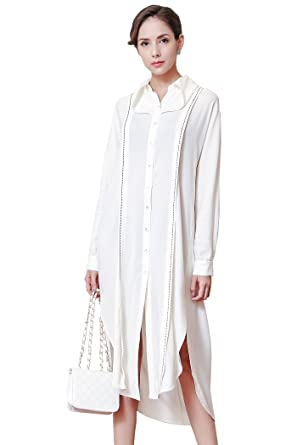 9c2b7690 VOA Fall Solid White Plus Size Loose Shirt Dress Simple Business ...