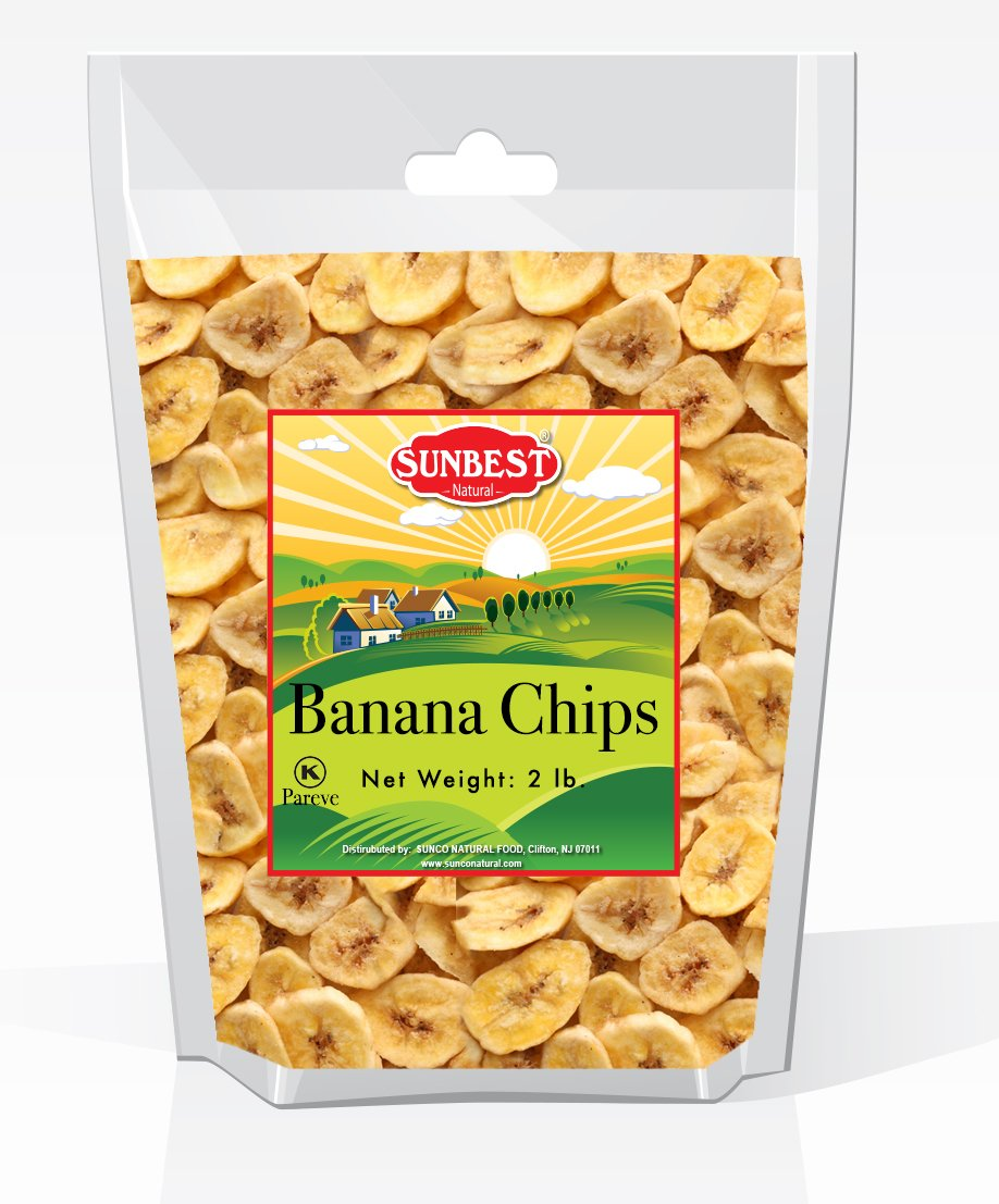 SUNBEST Banana Chips Sweetened (2 Lb) in Resealable Bag
