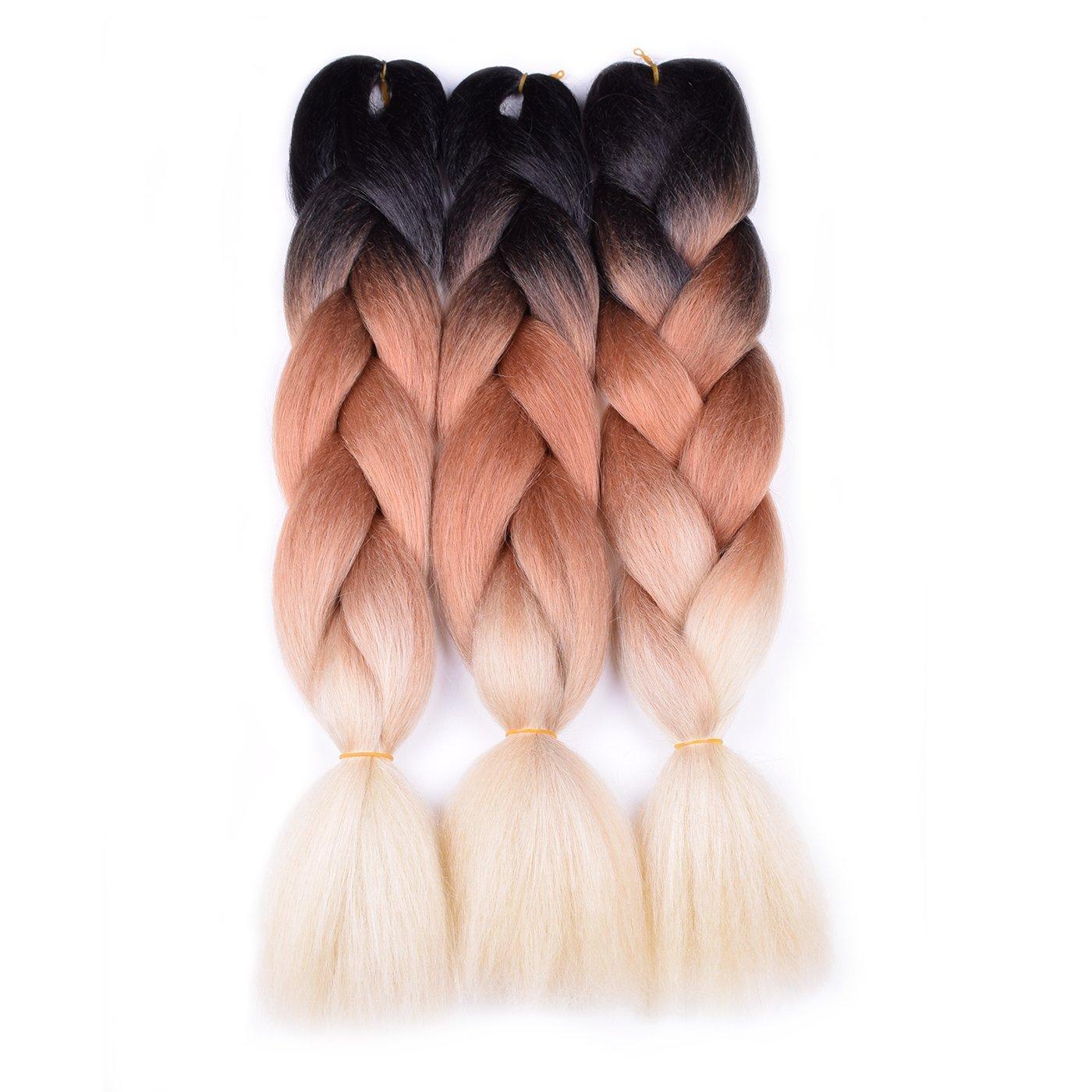 Amazon Com Jumbo Braiding Hair Ombre Black Brown Blond 5pcs