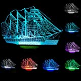 YANGHX Sailboat 3D Night Light Ship Modern100~240v Night 7 Color change LED desk table light lamp (Color: Multicolor)