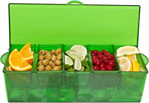 Condiment Server Chilled, Red With 5 Removable Compartments and Lid - Safely Chill 5 Types of Condiments , Easy To Clean, Serving Tray and Food Organizer