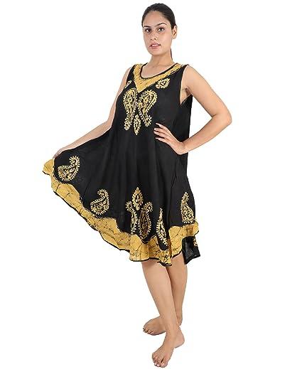 43bc214b86f Amazon.com  Wevez Embroidered Batik Maxi Dresses for Women (Black ...