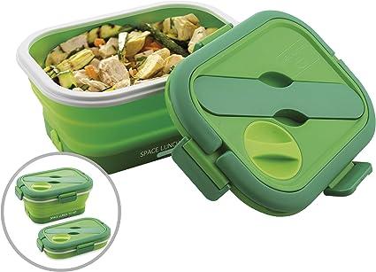 Macom Just Kitchen 865 Space Lunch to Go Hornillo eléctrico plegable Salvaspazio, 35 W, Verde/Blanco