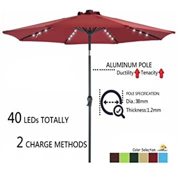 Patio Watcher 9 FT Outdoor Solar Powered Patio Umbrella, 40 LED With 2  Charge Mode