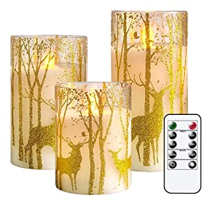 GenSwin Glass Flameless Candles with Elk Decor and Remote Timers, Battery Operated Moving Wick Led Flickering Light, Set of 3 Real Wax Pillar Candles for Christmas Home Decoration