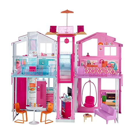 Barbie, Casa di Malibu con 4 Stanze, Ascensore e Tanti Accessori, 18 x