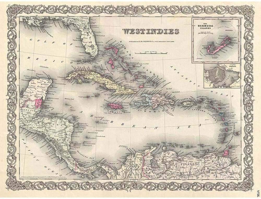 Wee Blue Coo 1855 Colton Map The West Indies Vintage Unframed Wall Art Print Poster Home Decor Premium