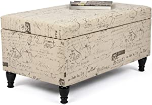 Asense Fabric Storage Ottoman Bench Footrest Stool with French Script