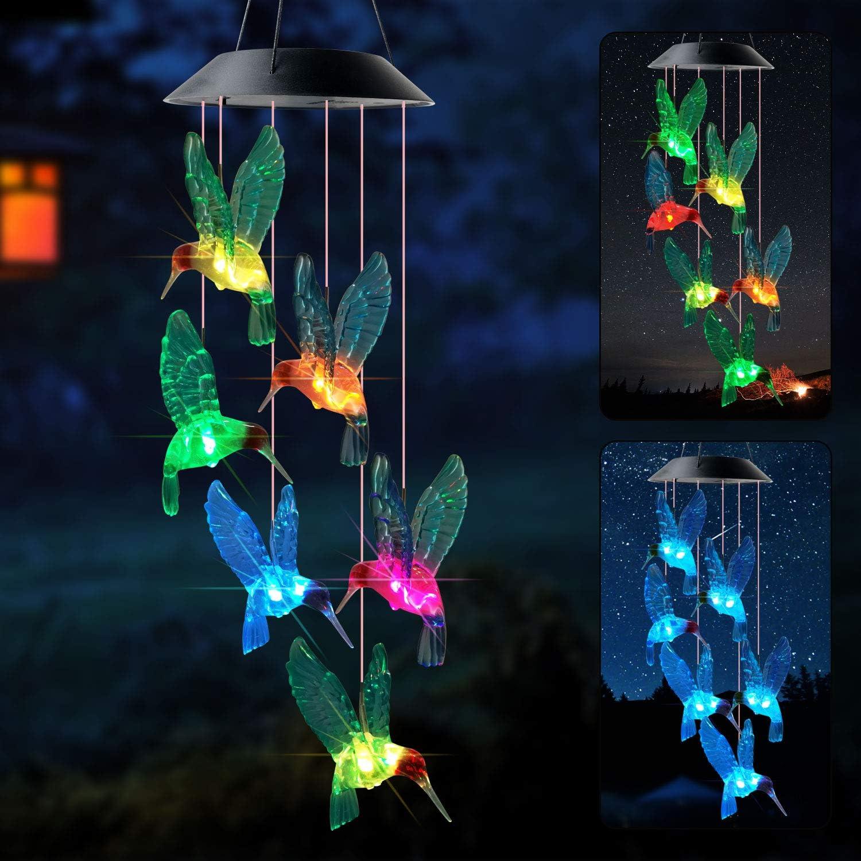 zhengshizuo Blue Hummingbird Wind Chimes Garden Decor Hummingbird Windchimes Solar Hummingbird Wind Chimes Ourdoor Decor Wind Chimes for Outside Yard Art for Garden Patio Yard Décor