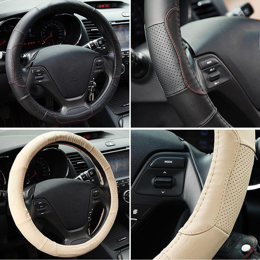 Mr.Dakai Odorless Luxury Genuine Leather Car Steering Wheel Cover-Nontoxic Middle 14.5 to 15.5, Red line Black leather Excellent Grip for vehicles,Suv