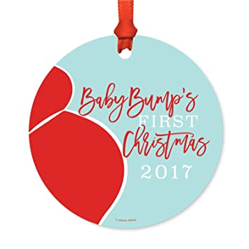 andaz press funny pregnancy round metal christmas ornaments baby bumps first christmas 2018 1 - Metal Christmas Ornaments