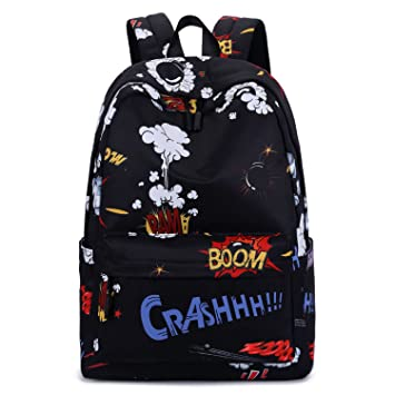 4193c722300 Amazon.com  Cool School Backpack, Betiteto Water-resistant Teens Boys School  Bookbags College Student Travel Laptop Bag (Black (with no words strap))   Lucky ...