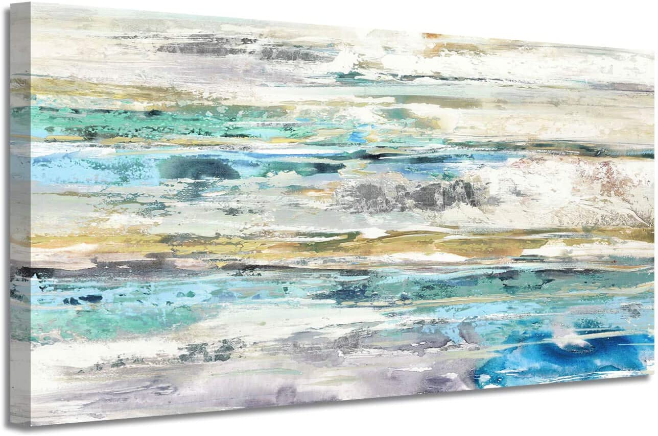 """LARGE CANVAS ART PRINT BROWN ABSTRACT SEASCAPE 42/""""x20/"""""""