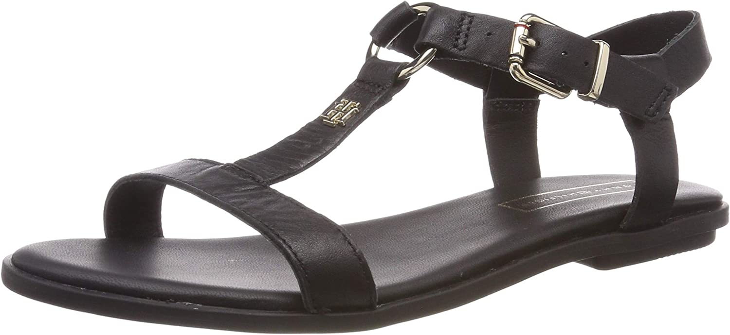 TOMMY HILFIGER Elevated Leather Flat Sandal Tongs Femme