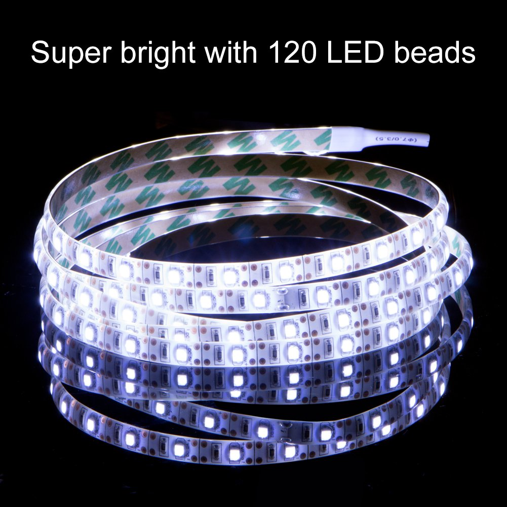 LED Strip Lights Battery Powered,XYOP Waterproof Battery Operated LED Strip Rope Lights, Flexible Led Lights Strip for Home and Car Decoration,TV Backlight,120 led Beads White-2M/6.56ft