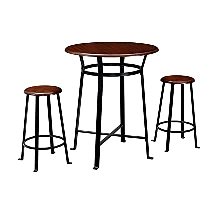 Remarkable Amazon Com 3Pc Stool Set With Table 2 Round Seats Dark Inzonedesignstudio Interior Chair Design Inzonedesignstudiocom