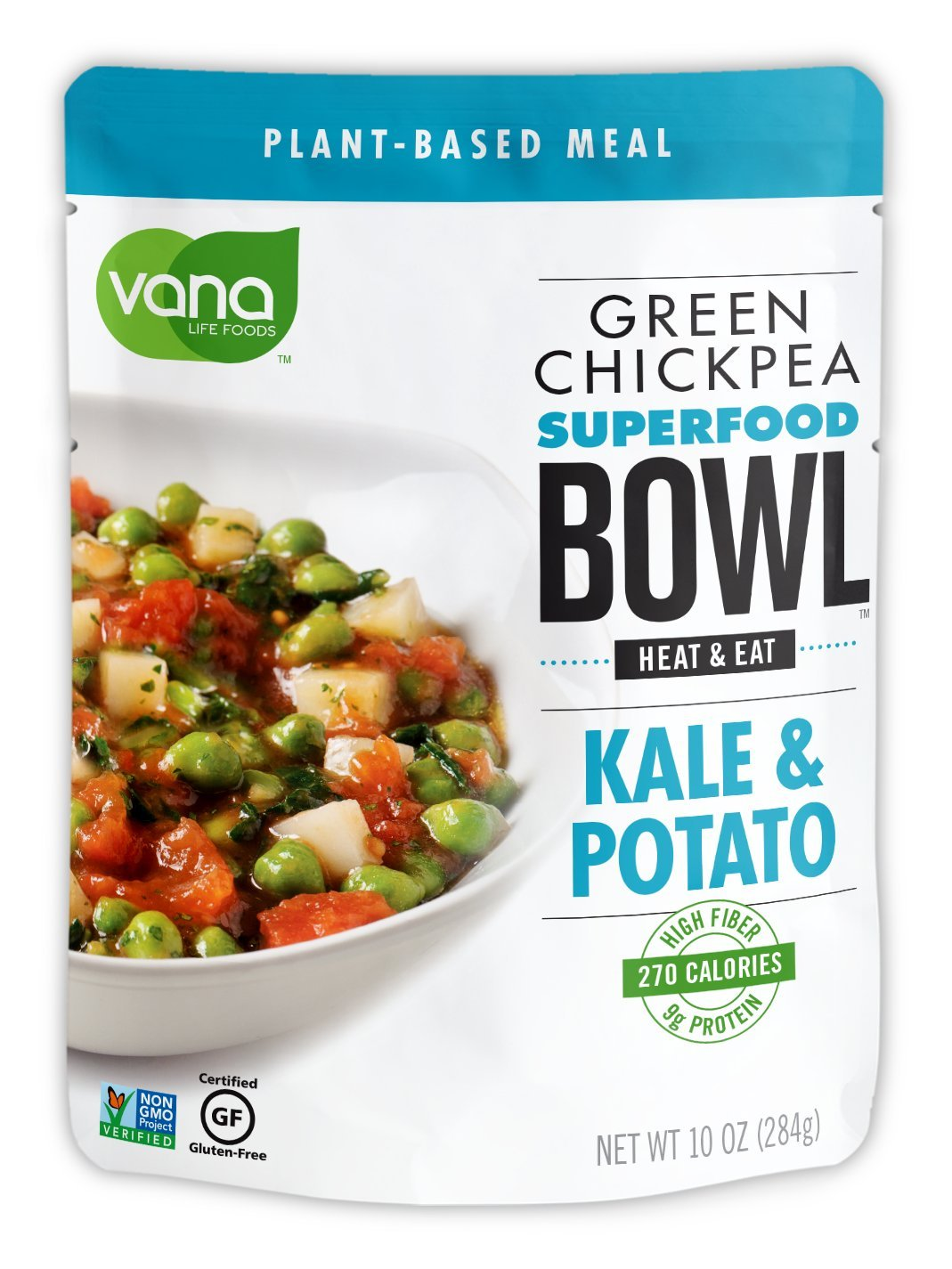 Vana Life's Foods Plant based Ready Meal - Green Chickpea Superfood Bowl Heat and Eat with Kale and Potato Microwaved Cooked Bowl | Product of the USA ( pack of 6)