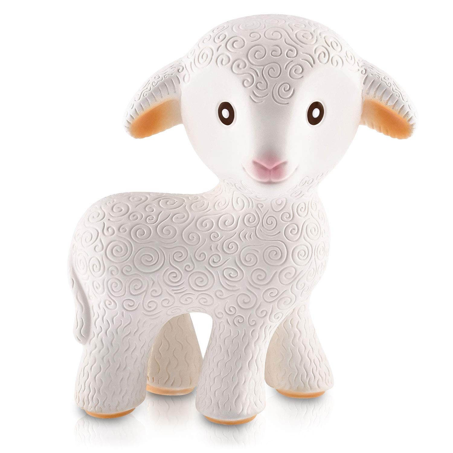 100% Pure Natural Rubber Teething Toy - Mia the Lamb – Hole Free, BPA, PVC, phthalates Free, Hermetically Sealed, All-Stage Teething Toy, Eco-Friendly, Natural, Certified Non-Toxic, Mold Free,Textured