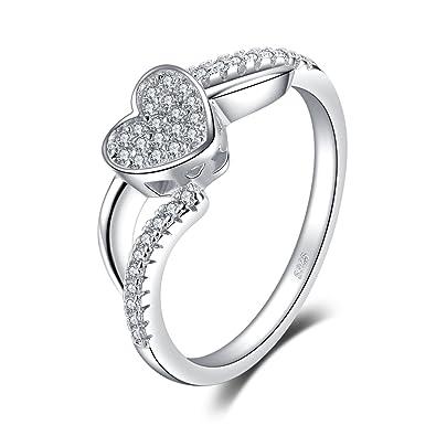 44e0c814e3fa JewelryPalace Anillo elegante en forma de corazón adornado Circonita en  plata de ley 925 Tamaño 09  Amazon.es  Joyería