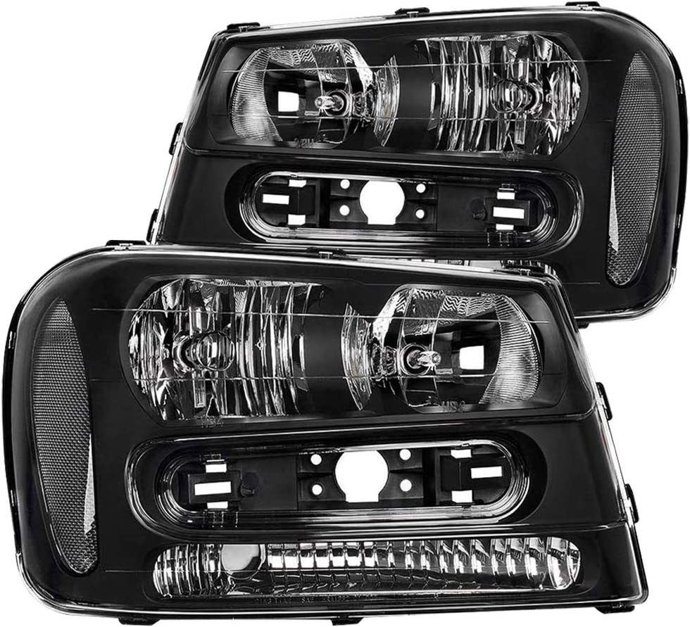 JSBOYAT For 2002-2009 Chevy Trailblazer Headlight Assembly Replacement Black Housing Headlamp Pair Driver and Passenger Side