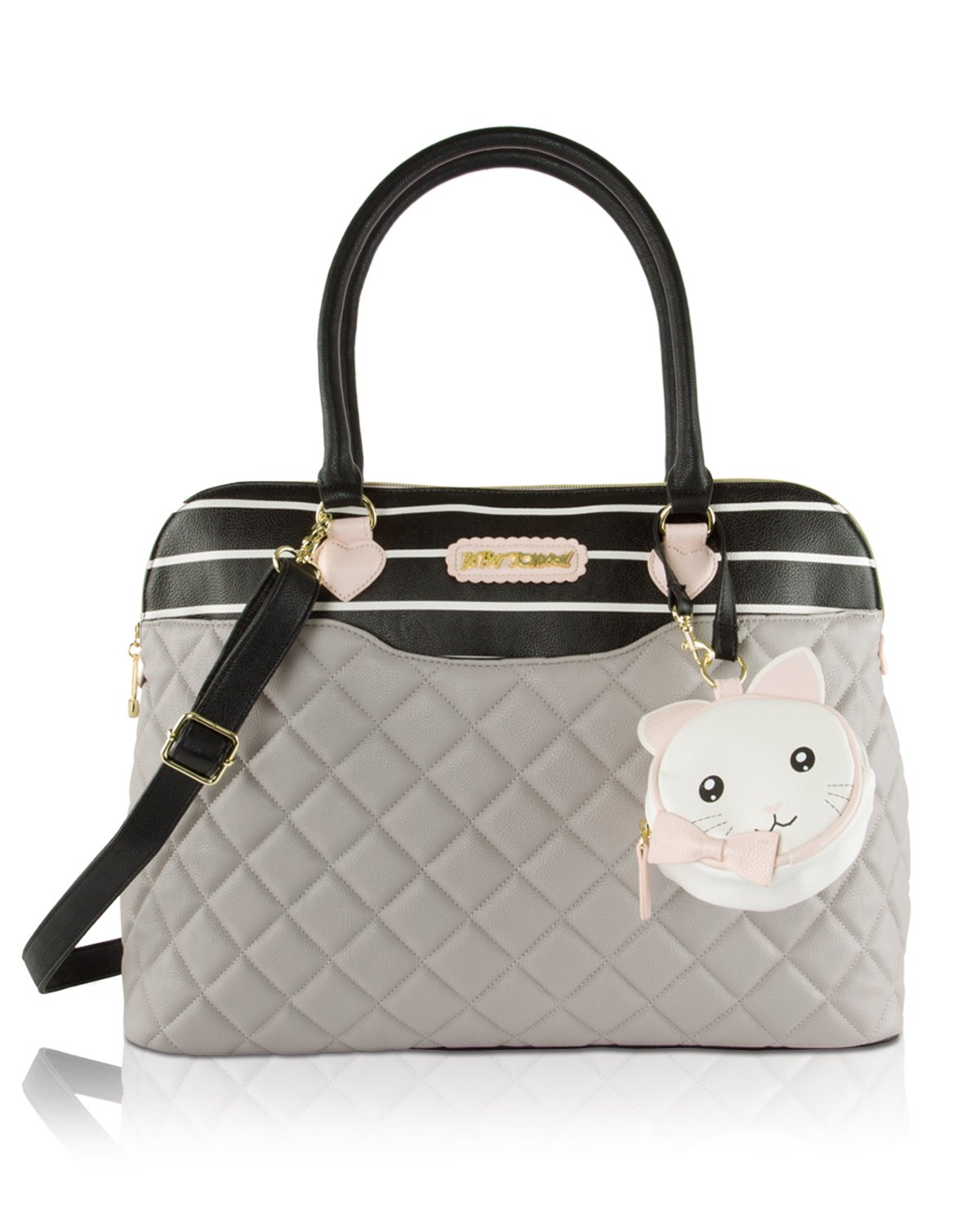 Betsey Johnson 3pc Zig Zag Weekender Multi-Function Diaper Satchel Tote Bag with Changing Mat - Chvron Cream/Black BBD1580