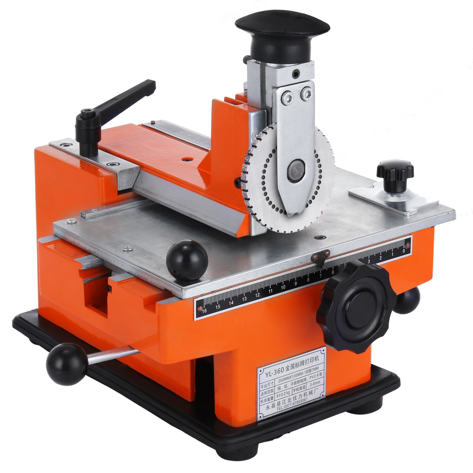 Happybuy Semi-automatic Sheet Embosser 2~4 Characters per Second Metal Embosser Working Plate 7.8''5.3'' Embossing Label Maker Machine with 4mm Aluminum Plate Metal Tag Plate Dog Tag Printer