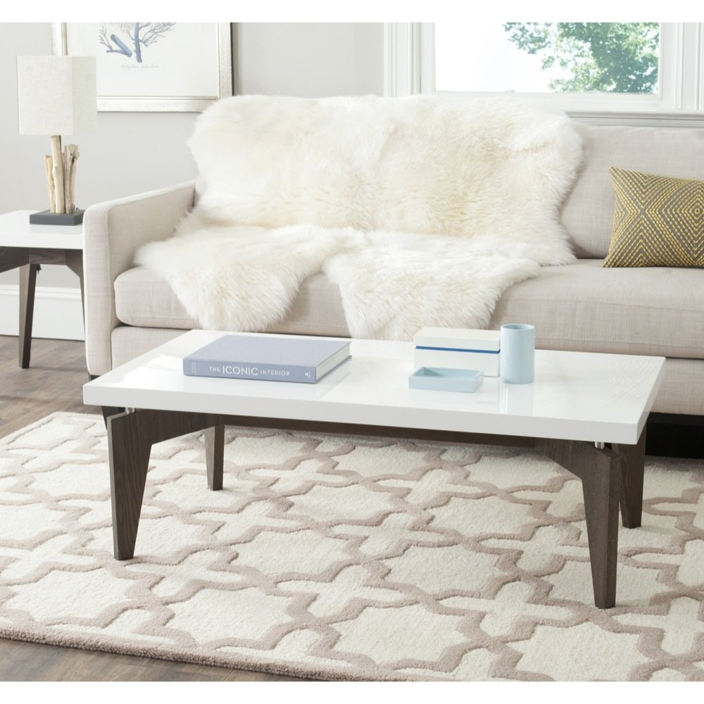 Amazon.com: Safavieh Home Collection Josef Mid Century Modern White And  Grey Coffee Table: Kitchen U0026 Dining