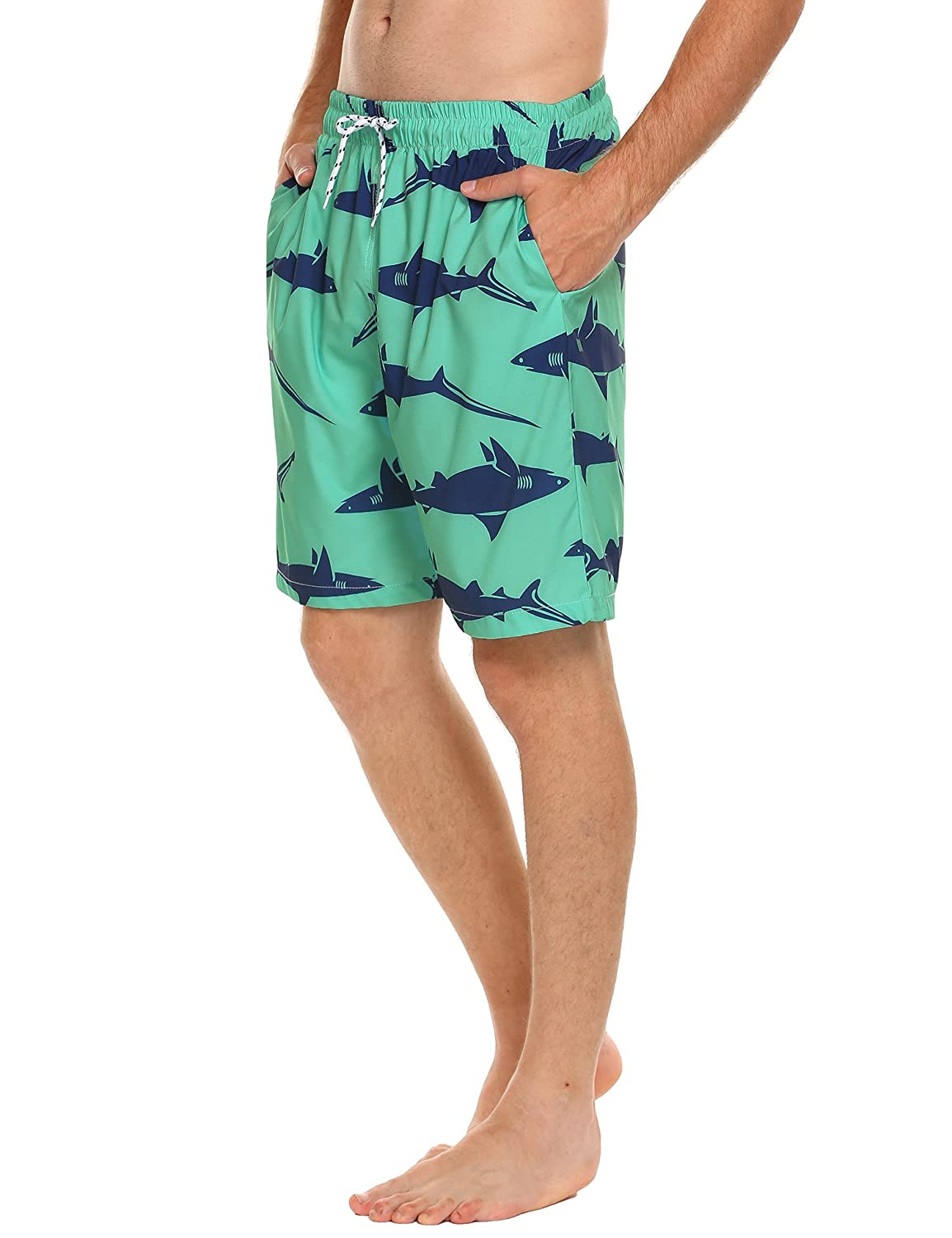 COOFANDY Mens Swim Trunks Beach Board Shorts with Pockets, Elastic Waist, Mesh Lining