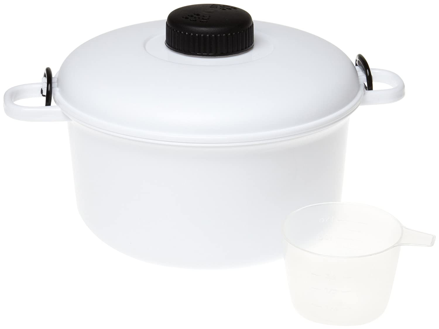 Handy Gourmet Micromaster Pressure Cooker - Cook Hearty Meals in Minutes - 2 1/2 Quart Capacity - Variety of Colors Available - Recipe Book & Measuring Book Inlcuded (White)