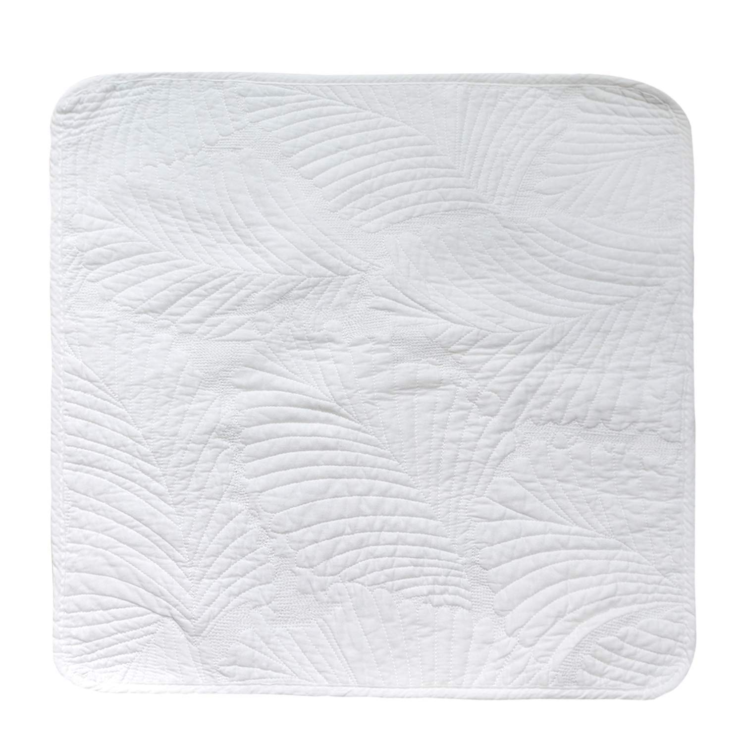 Brandream Quilted Throw Pillow Cover White Paisley Decorative Pillow Cases 18 X 18 100/% Cotton