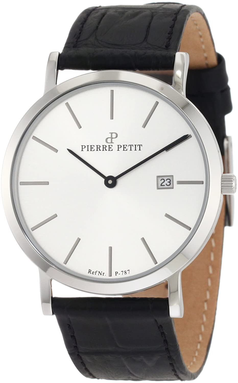【日本未発売】Pierre Petit(ピエール プチ) Men's P-787B Serie Nizza Silver Dial Black Genuine Leather Date Watch B0051N38DC