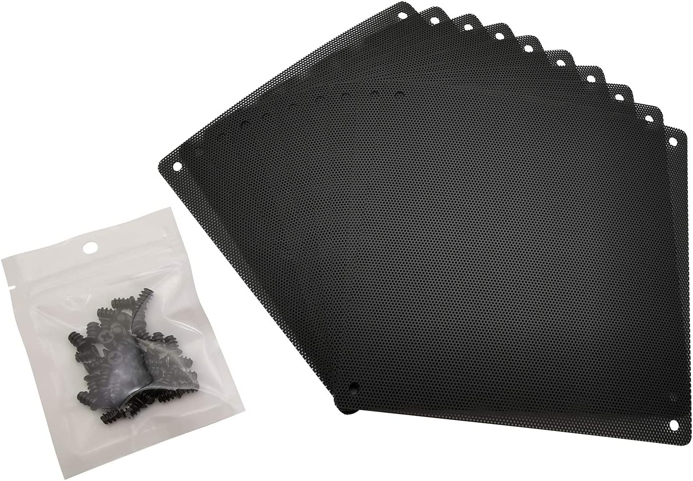 120mm PC Computer Case Fan Dust Filter Screen Dustproof Case Cover with Screws, Ultra Fine PVC Mesh, Black Color - 10 Pack